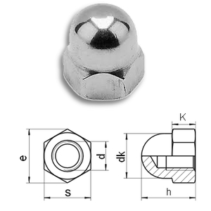 Hexagon Domed Cap Nuts - High DIN1587 (A4)Stainless