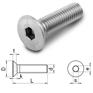 hex.socket countersunk flat head screws DIN7991