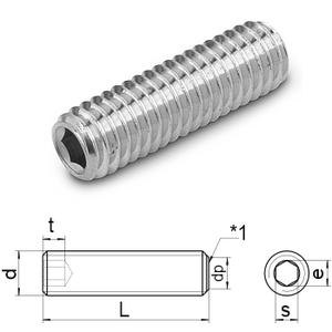 hex.socket set screws flat point DIN 913