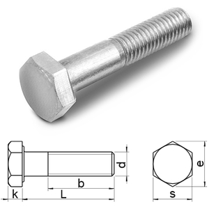 hexagon head bolts with shank DIN931