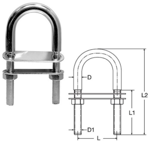 Stainless Steel U Bolt With Two Counter Plates